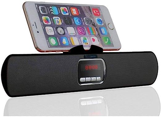 WEALTH Soporte de teléfono inalámbrico portátil Altavoz Bluetooth, Sistema estéreo Soporte para teléfono Soporte de Montaje para teléfonos Inteligentes y tabletas con Android iPad iPhone,Black: Amazon.es: Hogar