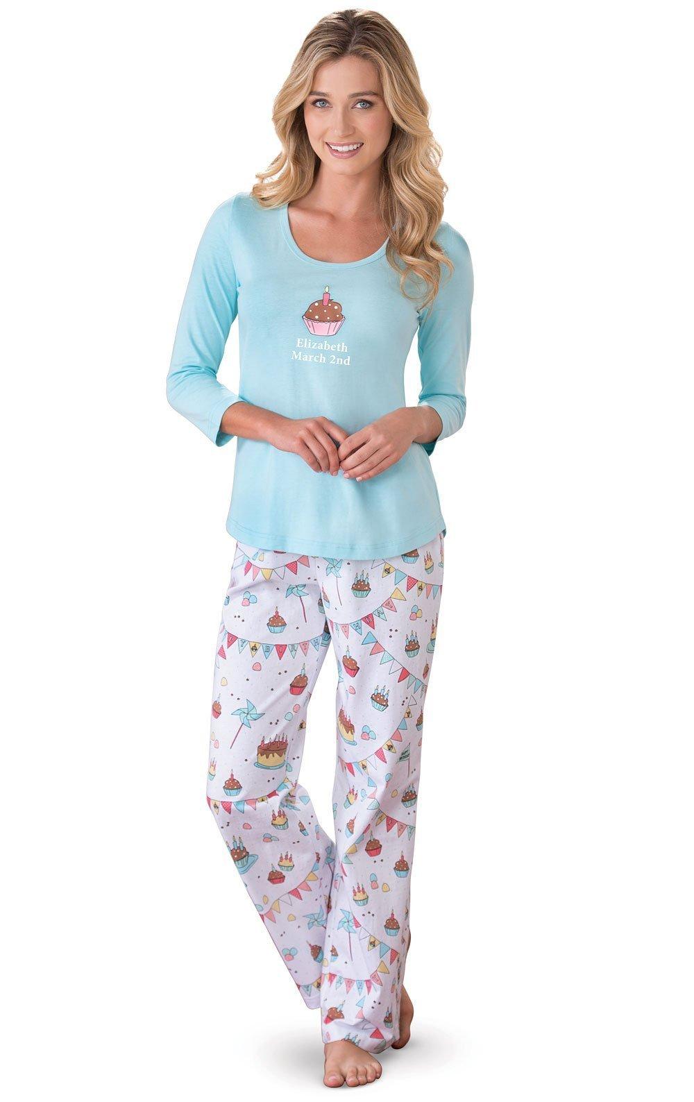 PajamaGram Personalized Birthday Gifts for Women: Birthday Pajamas, Blue MD 8-10