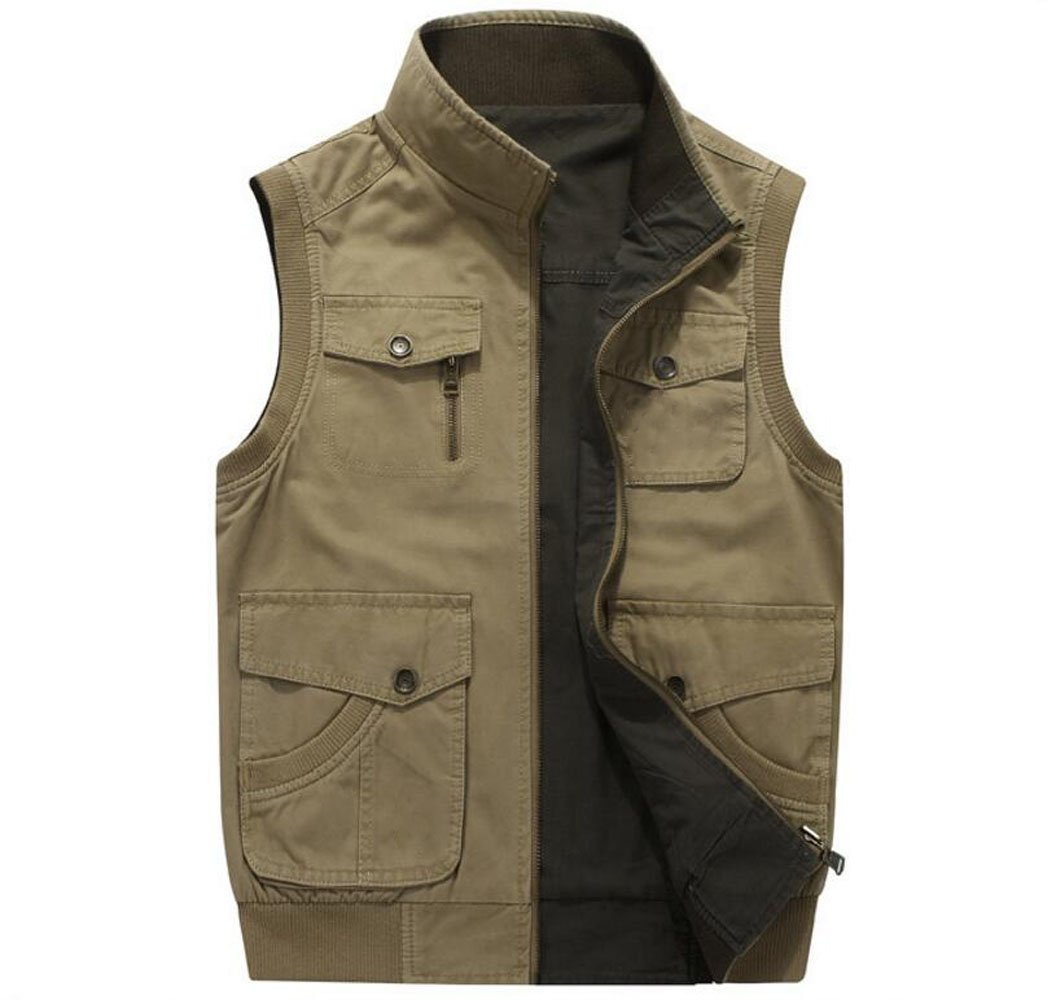 ZGJQ 100% cotone da uomo Entrambe le fasce possono indossare gilet multitasche senza cerniera (Colore : Verde, dimensioni : M) QSADFR Limited company