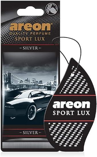 Areon Lufterfrischer Auto Sport Lux Silber Duft Anhänger Hängend Aufhängen Spiegel Schwarz Pappe 2d Set Silver Pack X 3 Auto