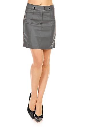 Damen Minirock Lederlook Mini Rock Leder Optik Bleistift Pensil Schnitt S 34 36
