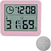 Thermometer Digital Indoor Hygrometer with Time Display, Accurate Temperature Humidity Monitor Meter for Home, Office, Nursing Room, Greenhouse, Warehouse and More Pink