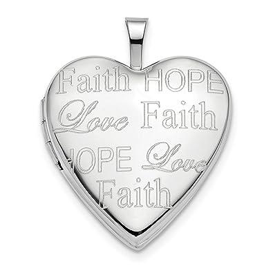 Amazon Fb Jewels 14k White Gold 20mm Love Faith Hope Heart