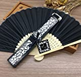 Black Engraving 50Pcs/Lot Personalized /Customized Printing Text Silk Hand Fan Beige Black Pink Wedding Gifts For Guests