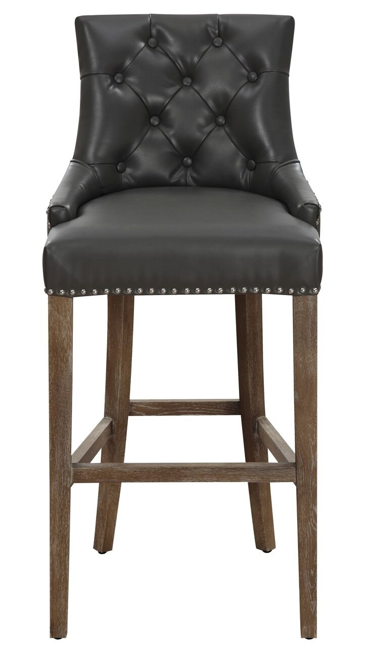 Amazon.com: TOV Furniture The Uptown Collection Antique Style Leather  Upholstered Button Tufted Counter Stool, Grey: Kitchen U0026 Dining