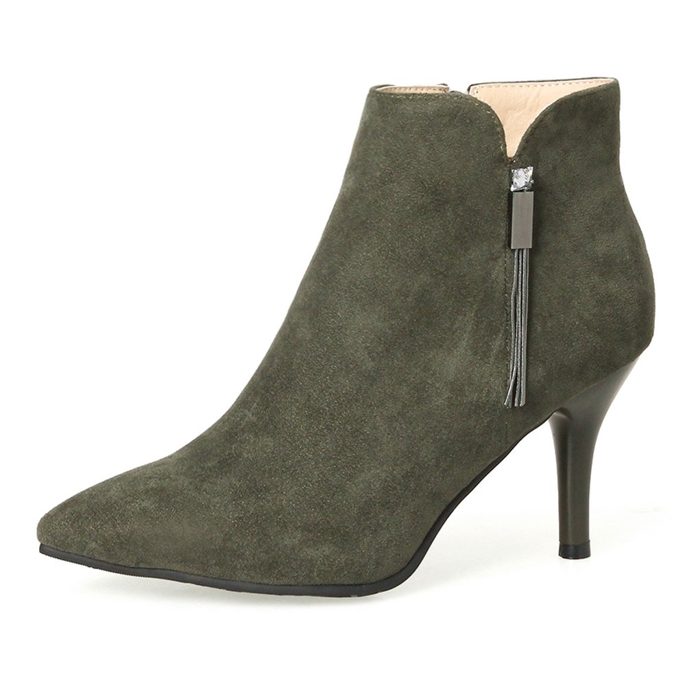 OALEEN Bottines olive Femme Strass Boots Sexy Bout Pointu Suède Talon Haut Aiguille Suède Chaussures Boots Soirée Vert olive 4851a1a - conorscully.space