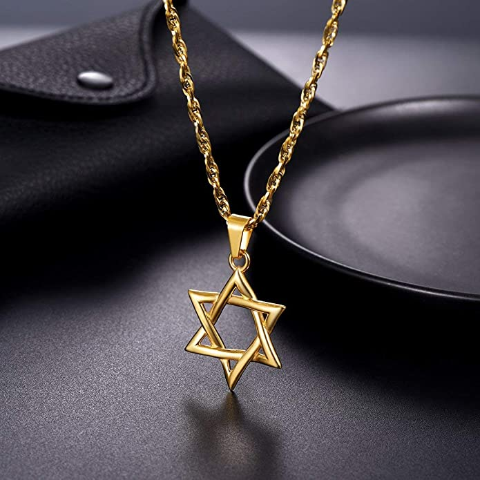 773cd34e9bfeb PROSTEEL Men Magen Star of David Necklace Israel Judaica Hebrew Jewelry  Hanukkah Pendant Chain Gold Color