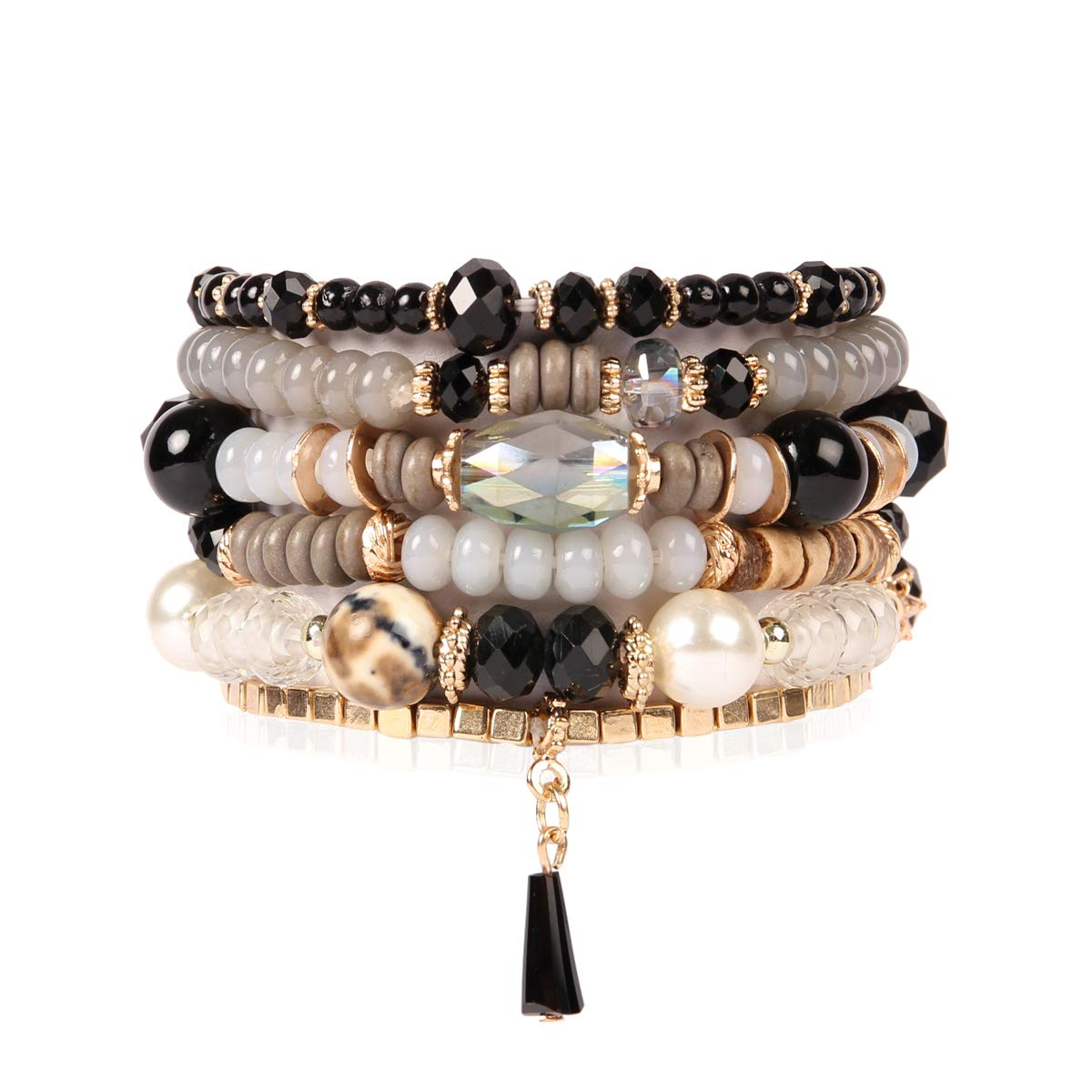 RIAH FASHION Bead Multi Layer Versatile Statement Bracelets - Stackable Beaded Strand Stretch Bangles Sparkly Crystal, Tassel Charm (Crystal Bead Mix - Black)
