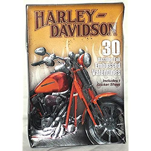 Harley - Davidson Dazzling Foil 30 Embossed Valentines Sales