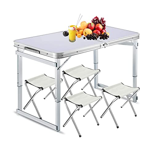 Folding Table Aluminum Lightweight Portable Table Adjustable Height with Carry Handle for Camping Outdoor