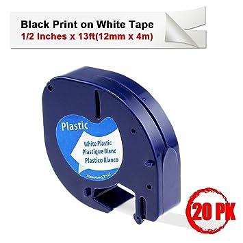 Dymo S0721610 Letratag Tape 12mm x 4m Plastic White