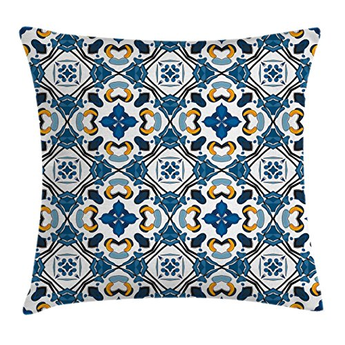 Ambesonne European Throw Pillow Cushion Cover, Portuguese Ceramic Classic Tilework Building Artisan European Inspired Image Print, Decorative Square Accent Pillow Case, 36 X 36 Inches, Royal Blue