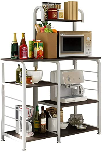 Mefedcy Furniture Kitchen Baker's Rack Storage Unit Shelving Microwave Stand 4-Tier 3-Tier Shelf