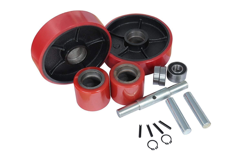 Dazone Pallet Jack/Truck Wheels Replacement Kit Set 20mm ID Bearings 7''x2'' Steer Wheel 3-9/16''x2-15/16'' Load Wheel