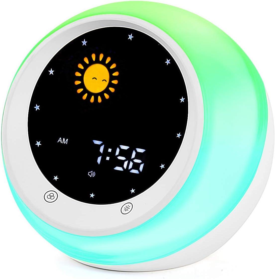 Sun & Moon Rise Kids Alarm Clock, Children's Sleep Trainer,Sleep Sound Machine, Wake Up Light & Night Light,Teach Kids Day & Night