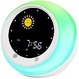 Sun & Moon Rise Kids Alarm Clock, Children's Sleep Trainer,Sleep Sound Machine, Wake Up Light & Night Light,Teach Kids…