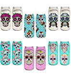 Women's 3D Cartoon Print Funny Smiley Casual Crazy Novelty Ankle Socks Value Pack (skull 1)
