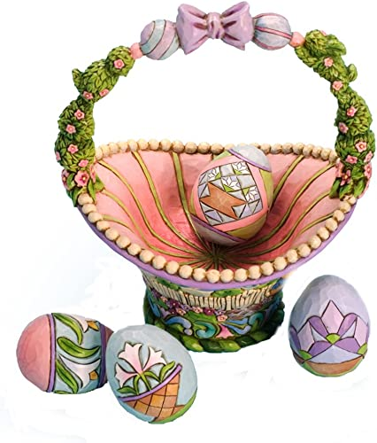 Enesco Jim Shore Heartwood Creek Easter Basket with 4 Eggs Figurine, 8.25-Inch