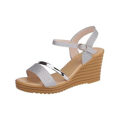 6b04ec63d8ef4 Solike Sexy Femme Sandale Compensée Été Bride Cheville PU Plateforme Ouverte  Bout Boucle Casual Tongs Chaussure