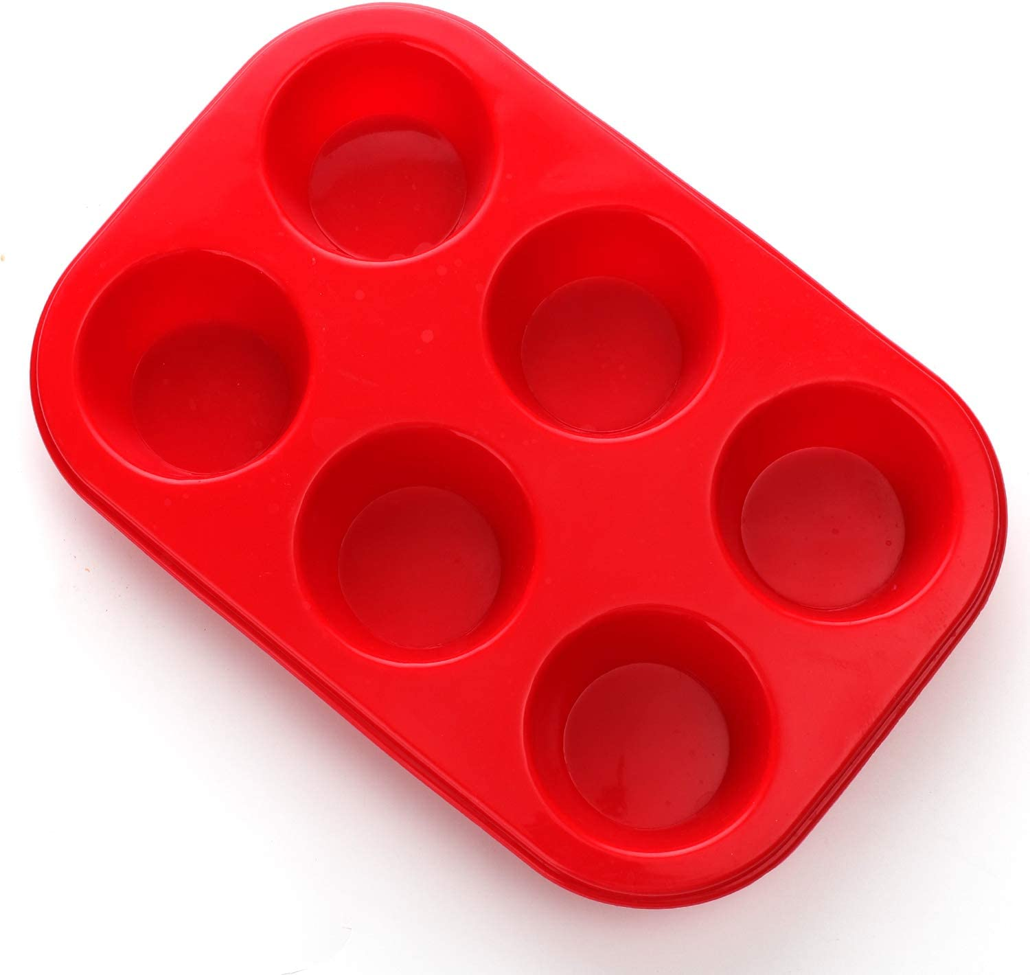 Silicone Muffin Pan, European LFGB Silicone Cupcake Baking Pan, 6 Cup Muffin, Non-Stick Muffin Tray, LFGB Approved Egg Muffin Pan, Food Grade Molds Red