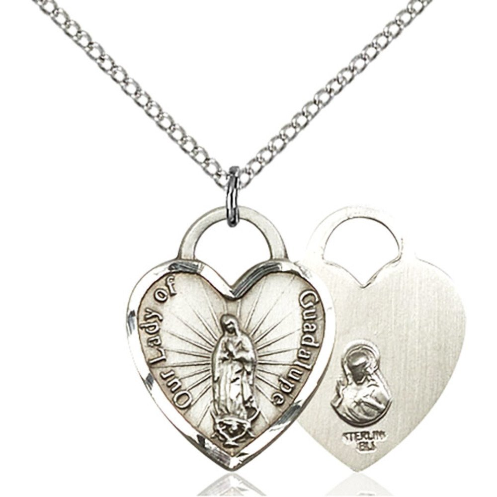 Sterling Silver Our Lady of Guadalupe Heart Pendant 3/4 x 5/8 inches with Sterling Silver Lite Curb Chain