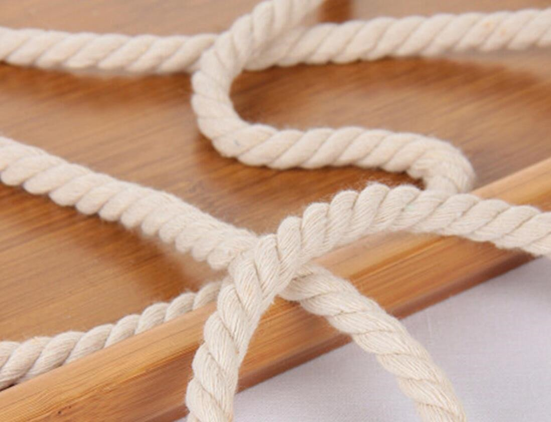 WellieSTR (100Metters/109yards) 3 Shares Twisted Cotton Cords 8mm BEIGE DIY Craft Decoration Rope Cotton Cord for Bag Drawstring Belt by WellieSTR (Image #2)