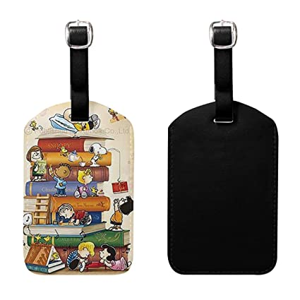 Set of 2 PU Leather Luggage Tags Funny Minnie Suitcase Labels Bag Adjustable Leather Strap Travel Accessories