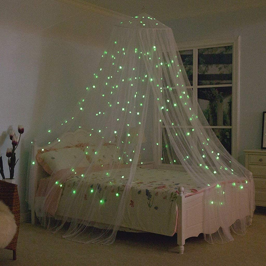 Firefly-Mua Bed Protection Net Bedding Accessories Mosquito Nets with Lights Bed Canopy Netting Outdoor Holiday Travelling Chambre Des Enfants D'intérieur (Color : White)