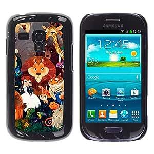 For Samsung Galaxy S3 MINI 8190 - Cute Wizard Zoo Animals Lion Elephant Giraffe /Modelo de la piel protectora de la cubierta del caso/ - Super Marley Shop -