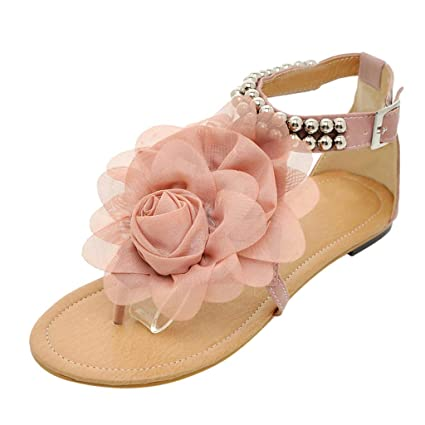 b9501279f5da Women Bohemian Sandals Leather Flower Flat Flip Flops Sandals Round Toe  Beaded Sandals Clip Toe Shoes