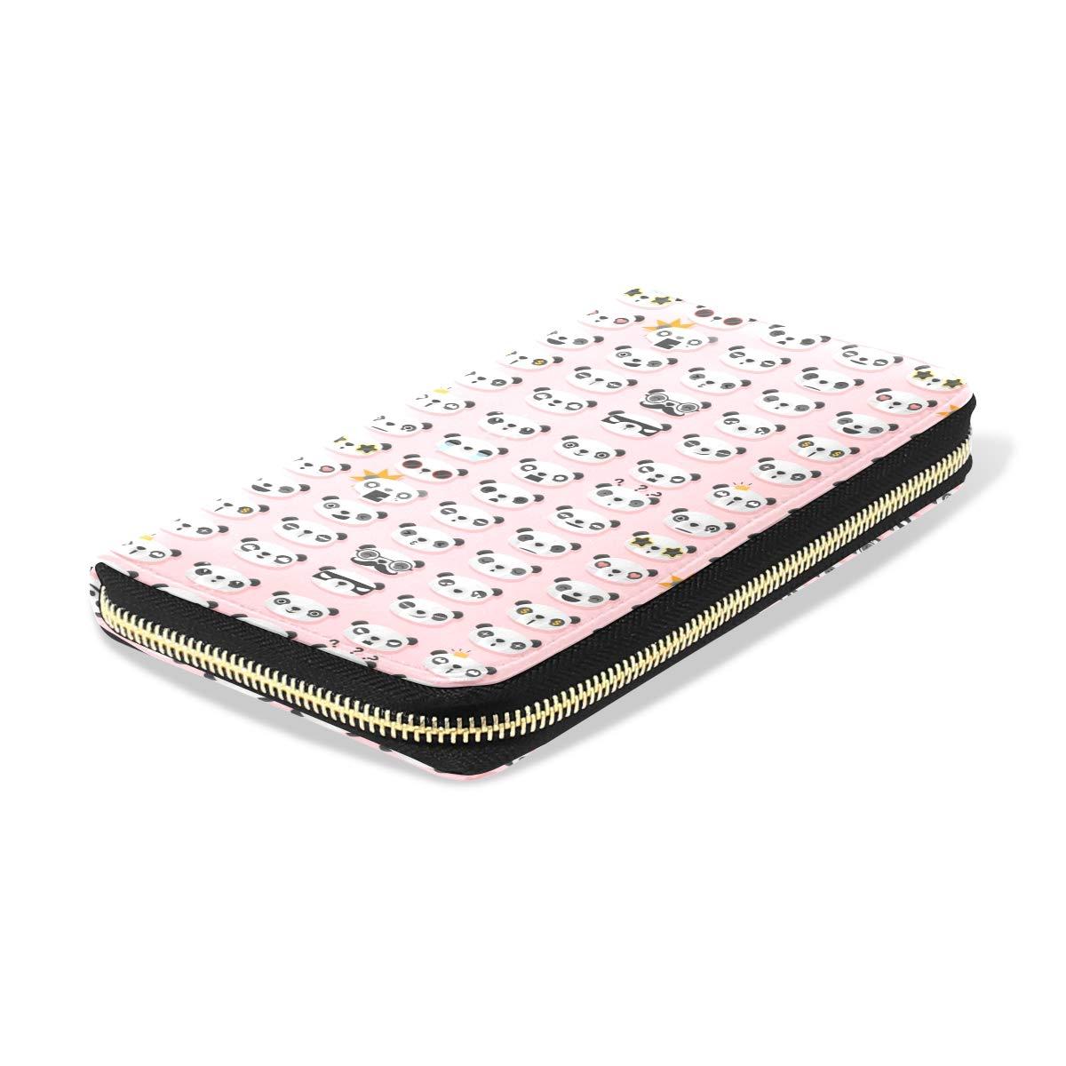 Women LeatherCute Pandas Heart Print PinkWallet Large Capacity Zipper Travel Wristlet Bags Clutch Cellphone Bag