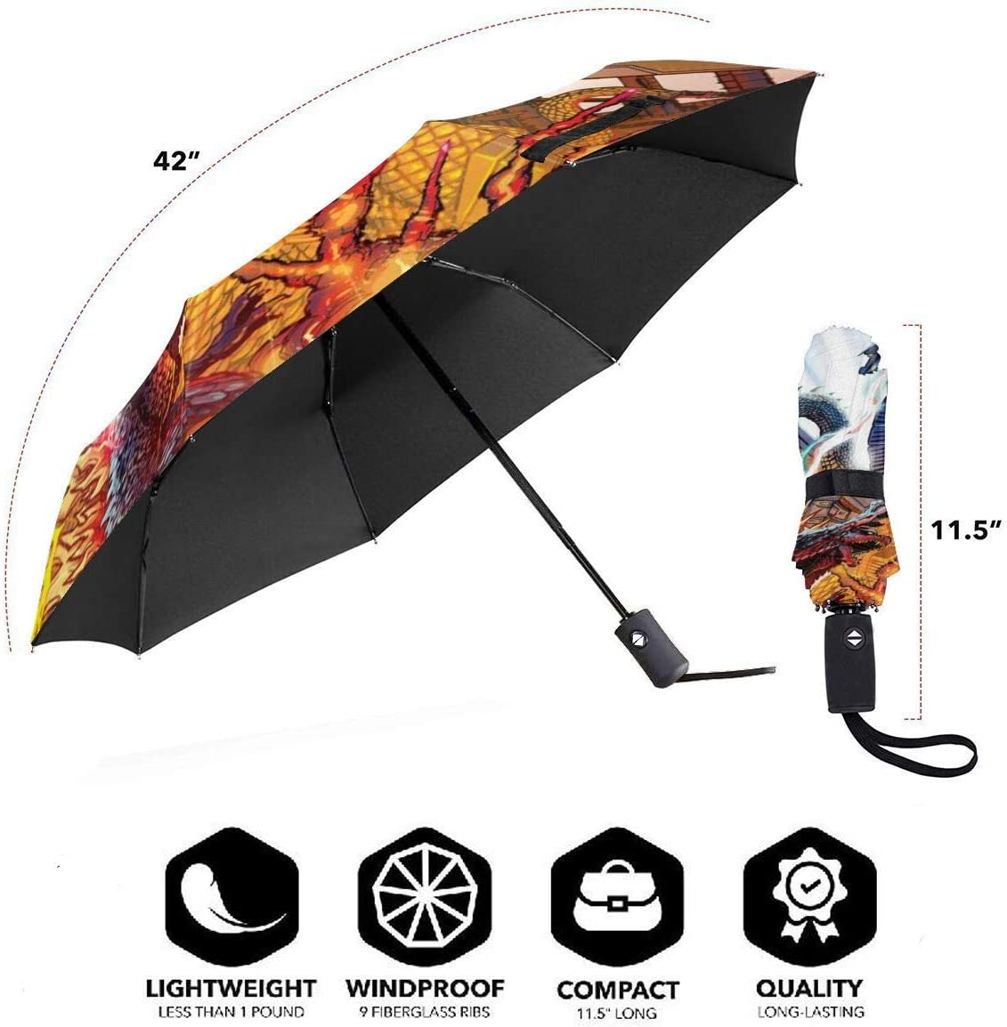 PatriciaHeredia Godzilla King Ghidorah Anime Automatic Tri-fold Umbrella