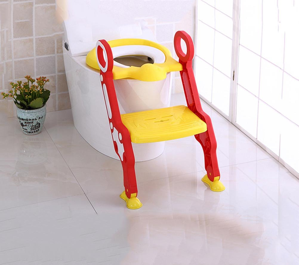 OOFAY Potty Toilet Seat With Step Stool Ladder, 2-In-1 Trainer For Kids And Toddlers Suitable For 3-7 Years Old,Yellow