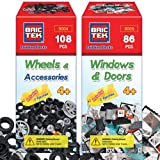 BRICTEK Wheels Kit 108pcs and Windows and Doors Kit 86pcs Building Blocks with Block Remover