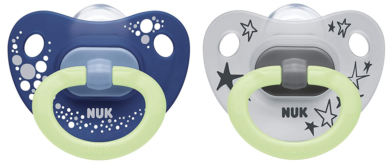Blau Silikon NUK Happy Nights Schnuller mit Leuchteffekt 2 St/ück mit Schnullerbox 0-6 Monate