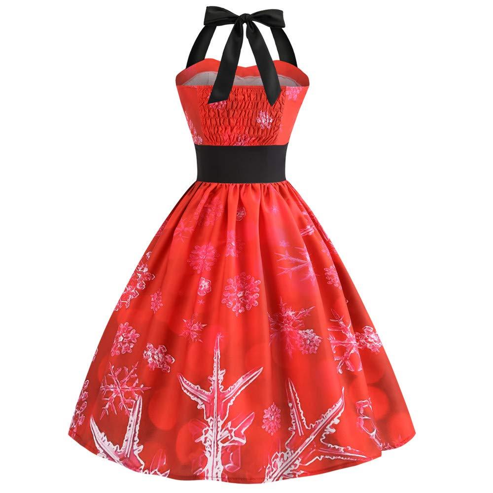 Amazon.com: YOMXL Women Vintage Halter Dress Christmas Santa Printed Backless Bandage Swing Dress Sleeveless Party Prom Dress: Home & Kitchen