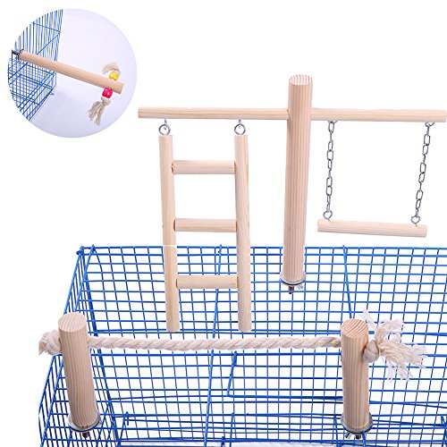 QBLEEV Wooden Bird Toys Set Placed in/on The Birdcage,Parrot Swing Ladder Stand Bar Rope Toy,Non-Toxic Chewing Training Playground for Small and Medium Birds Parakeet Budgies(No Birdcage Included) ()