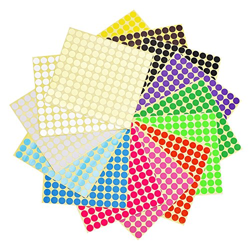 Mudder Color Coding Labels Set, 15 Sheets 3/ 4 Inches Round Dot Labels and 15 Sheets 1/ 2 Inch Round Dot Stickers