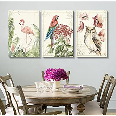 3 Panel Vintage Style Birds Flowers on Floral...36