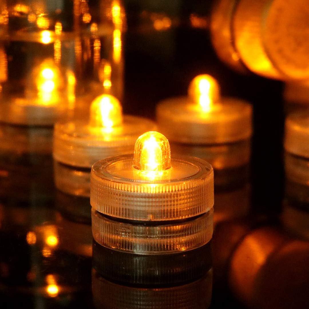 HL 24pack Amarillo Impermeable Redondo Submarino Mini LED Luces de Té Luces Sumergibles para Boda Inicio Patry Jarrón Festival Decoración de San Valentín