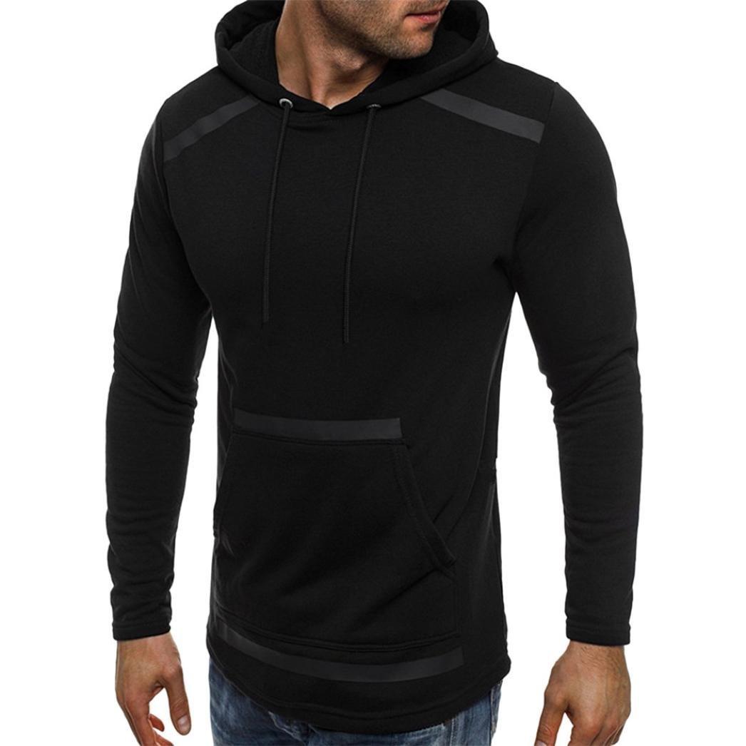 Clearance Men Casual Long Sleeve Pocket Fleece Hooded Sweatshirt - vermers Mens Fashion Personality Outwear Tops(M, Black)