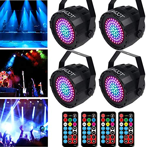 DJ Lights- 2019 New Generation Stage Disco Lights 78 Leds Detachable Power Cable, Sound Activated Strobe Wash Lights with Remote and DMX Control for Wedding Party Disco DJ Bar Christmas(4 pack)