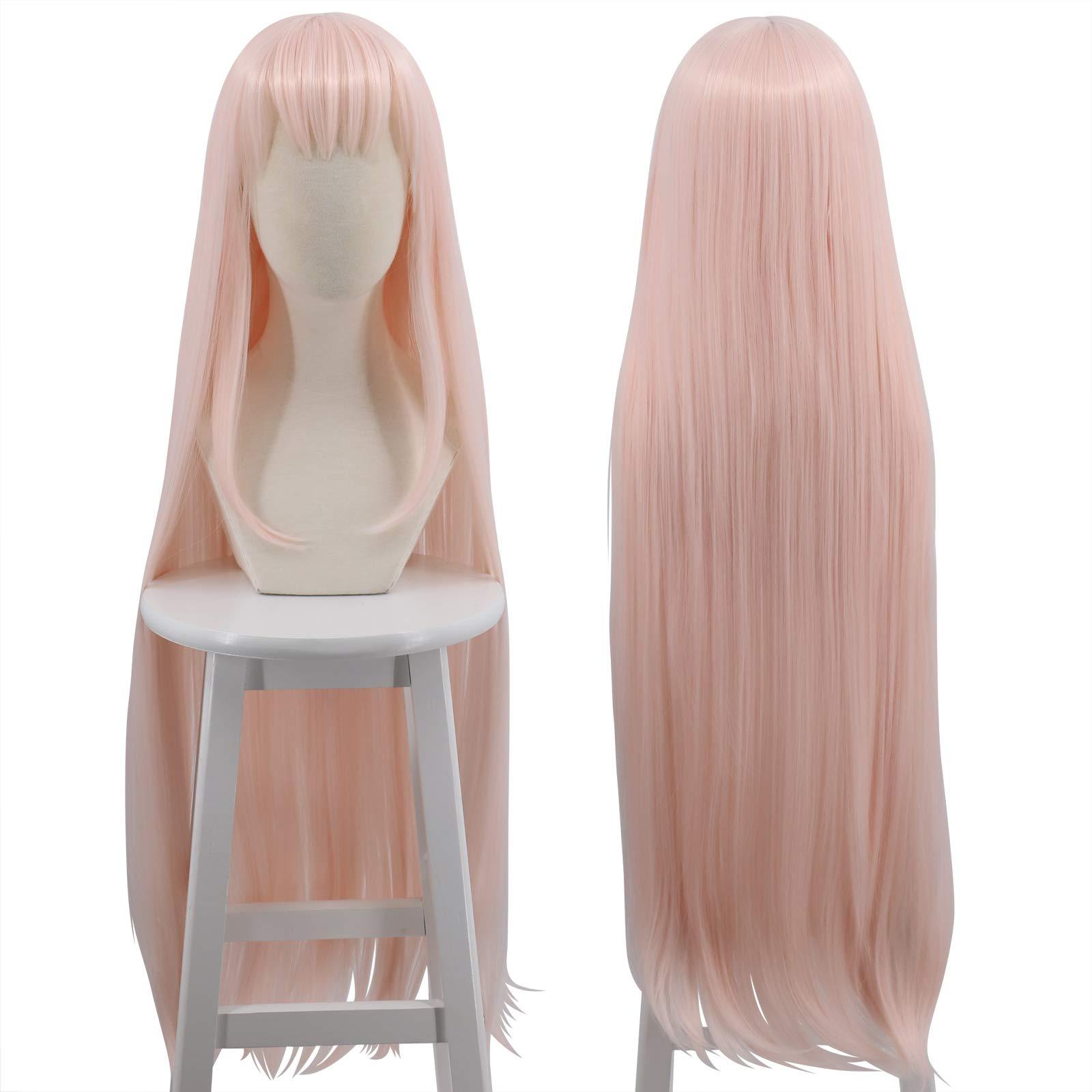 Cfalaicos 1M ZERO TWO Code 002 Cosplay Wig Long Straight Pink Costume Wig