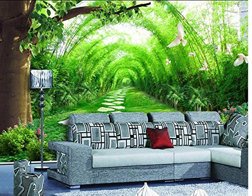 Silk Road Bamboo (Wapel Wallpapers For Living Room Wall 3D Wallpaper Bamboo Forest Road Background Wall Living Style Wallpaper Mural Silk cloth 350x250CM)