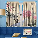 SCOCICI1588 Room Darkening/Thermal Insulated Rod Pocket Window Curtains Jingzhe solar term ink painting Set of Two Panels W104'' x L63'' Pair