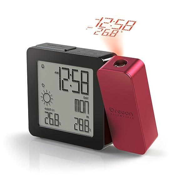 Oregon Scientific BAR368P - Reloj despertador con proyección de hora y temperatura, color negro y