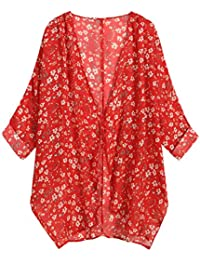 Women's Floral Print Sheer Loose Kimono Cardigan Capes