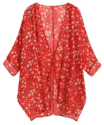OLRAIN Women's Floral Print Sheer Chiffon Loose Kimono Cardigan Capes (Large, Red White)