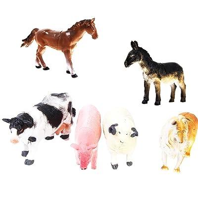 6pcs Animaux de Ferme Jouet Figurines Chien Cochon Vache Mouton Cheval Ane