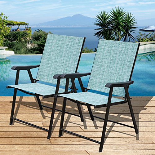 Sundale Outdoor Beach Yard Pool Sling Back Chairs Patio Recliner Garden Folding Chairs Space Saving Chairs, Set of 2 (Back Folding Sling)
